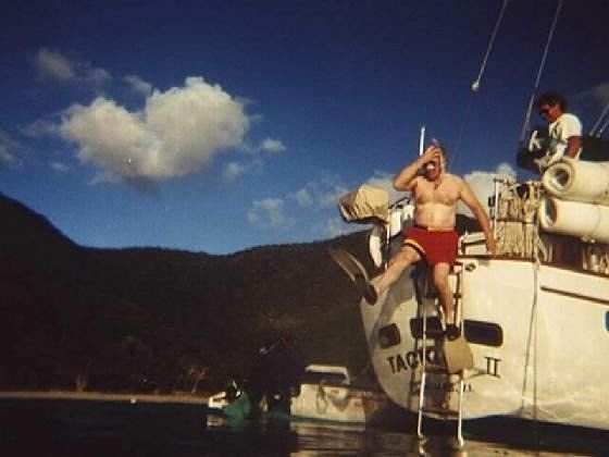 Bob jumping in to snorkel 1997