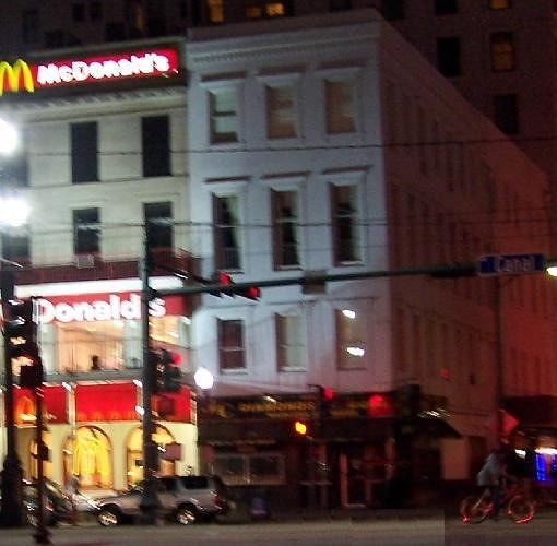 McDonalds at night- our hotel is above and to the right of it