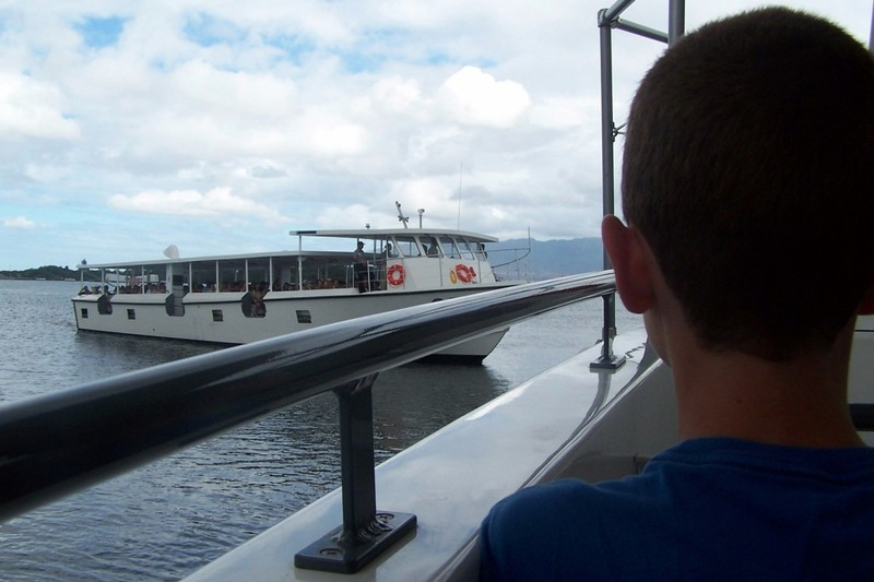 On the boat on the way out to the Arizona memorial
