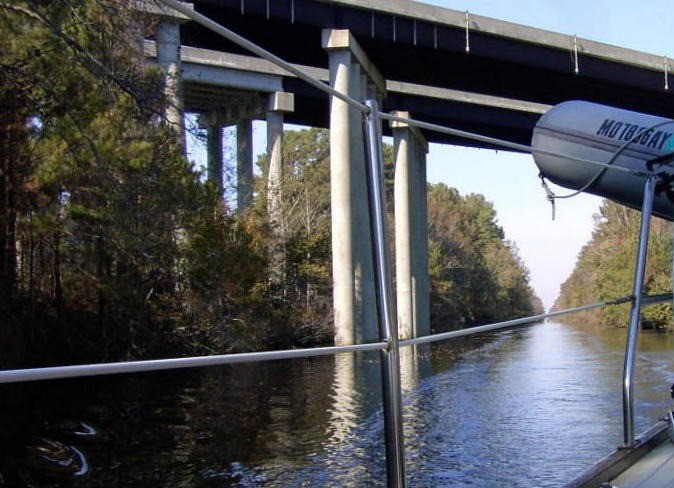 Looking back at the US 17 bridge over the DIsmal Swamp Canal