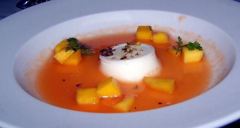 Mango, Cantaloupe broth Ginger Panna Cotta