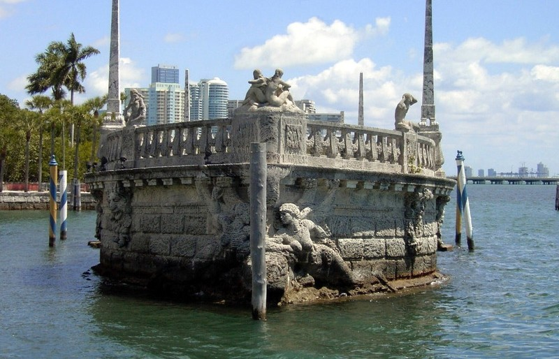 The end of the barge n the water in front of the Main House sculpted by Alexander Stirling Calder.The Barge is a  breakwater shaped as a boat and decorated with carvings representing mythical Caribbean creatures