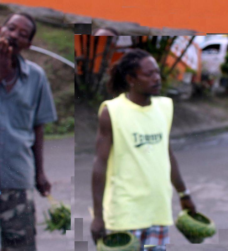 men selling palm leaf baskets