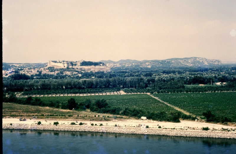Looking across river to the Fort Saint-André in the town of  Villeneuve-les-Avignon