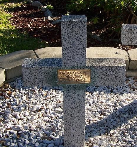 Memorial cross for<br />Stanley R. Craig,<br />Royal Navy<br />Body found<br />May 14, 1942