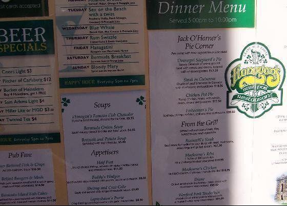 Flannigan's menu