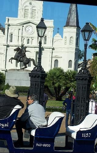 Carriage at Jackson Square from the tour bus