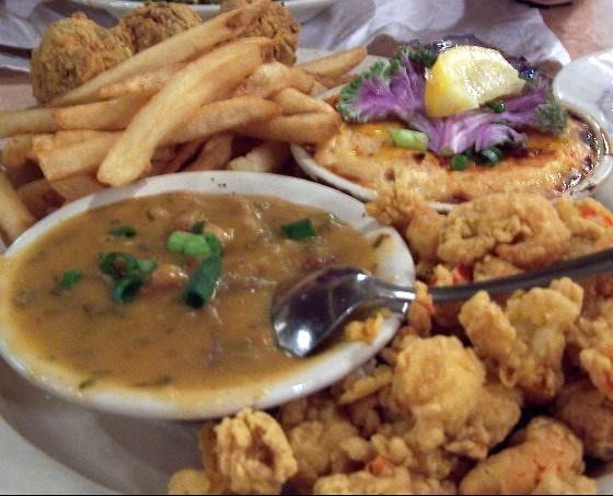 Crawfish quartet ($14.95) which was crawfish fixed 4 ways - au gratin, fried tails, etouffee and crawfish dressing balls