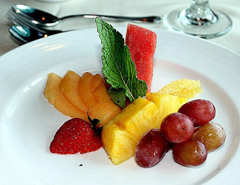 Seasonal fruit platter with sherbert