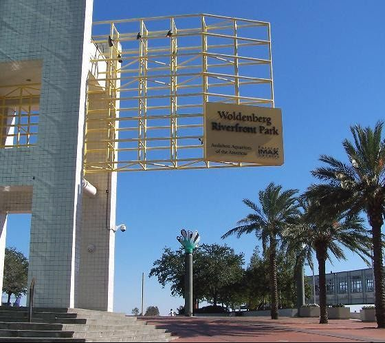 Woldenberg Riverfront Park and Imax Sign on the waterfront