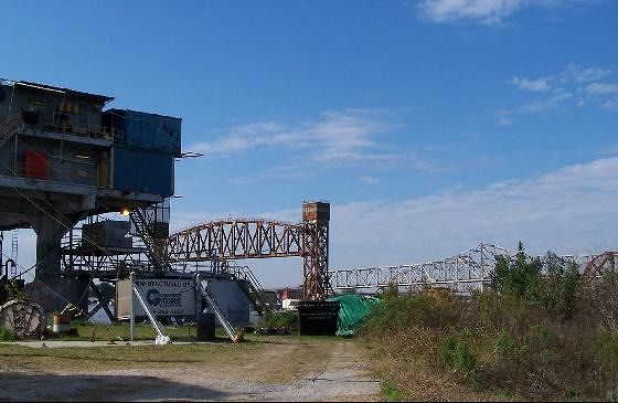 Lift bridge past the Rig