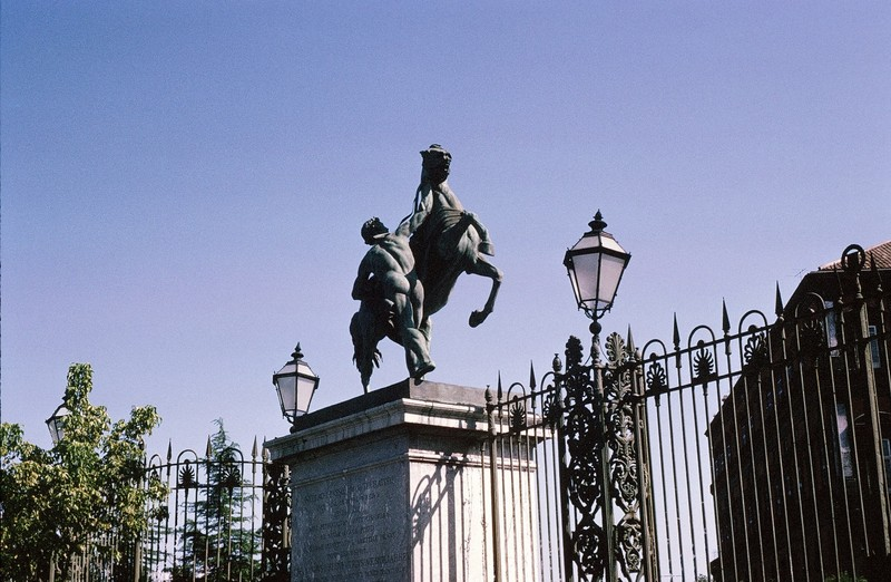 Horse Tamers on the pillars of the east entrance to the gardens of the Royal Palace in Naples (copy from St. Petersburg) gift of czar Nicholas I to Ferdinand II in Naples, Royal Palace (1846)