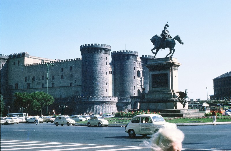 Horse statue and New Castle from street