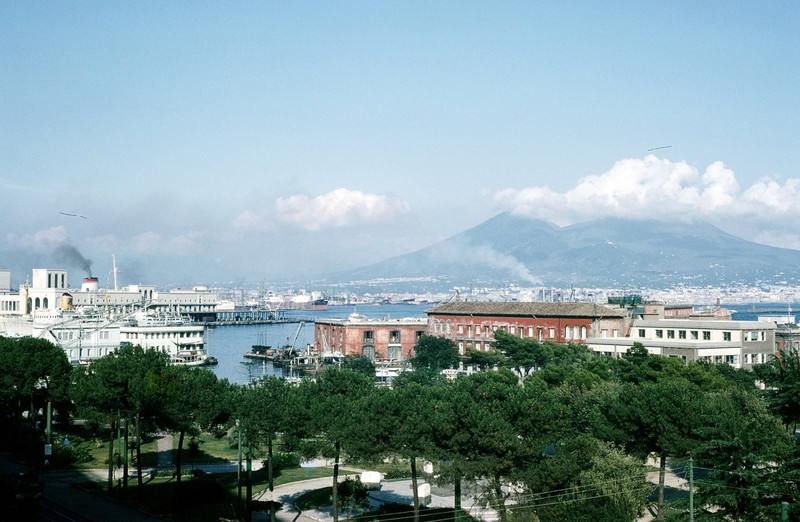 Vesuvius and steamer dock from St. Lucia
