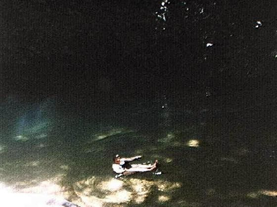 Me floating in the Blue Hole