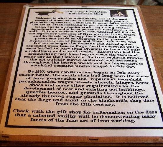 Plaque in blacksmith shop