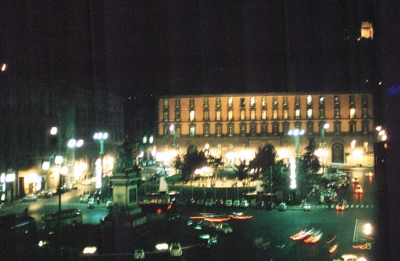 Square with our hotel at night