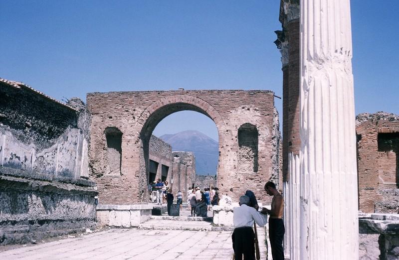 Vesuvius through arch
