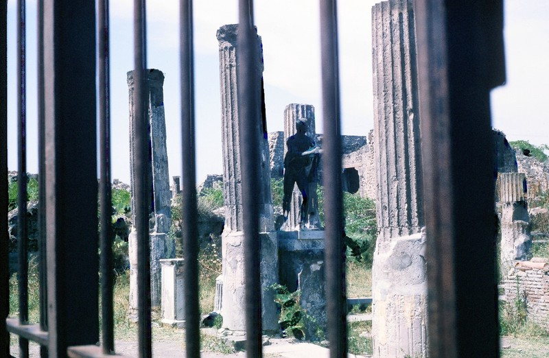 Temple statue through fence