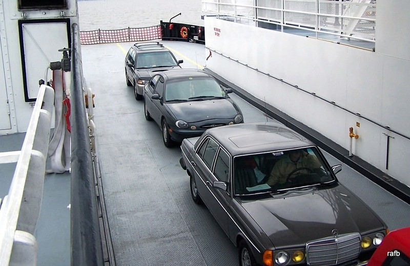 Our car on the ferry from above