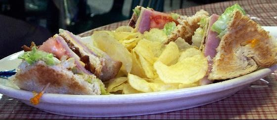 Bob had a triple decker club sandwich $5.95