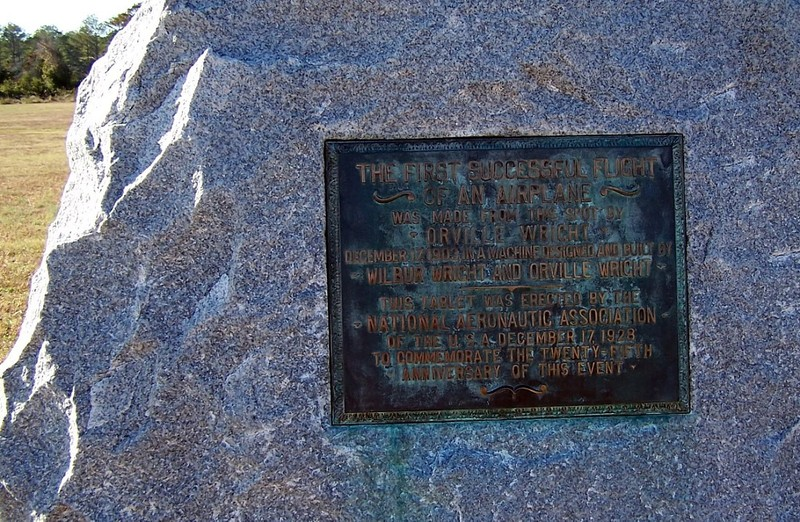 Plaque at the first flight location
