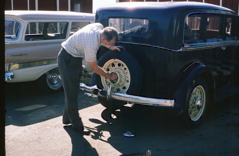 Bob changing the tire