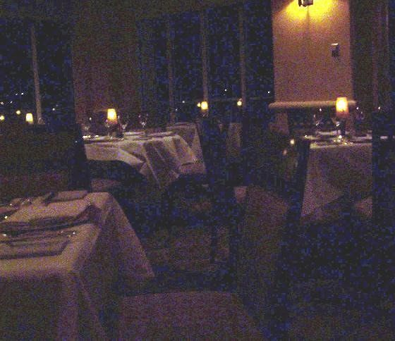 Dimly lit dining room