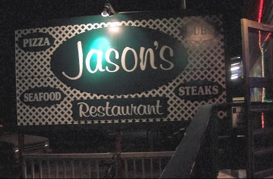 Jason's sign at night