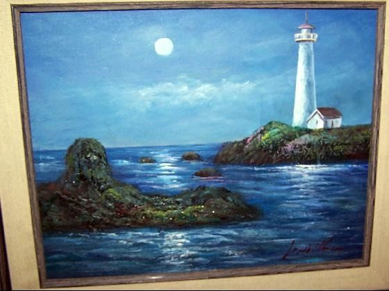 Lighthouse picture in the restaurant