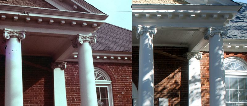 Comparison courthouse portico - left 1962 and right 2016