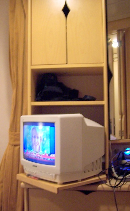 TV pulled out of the cabinet