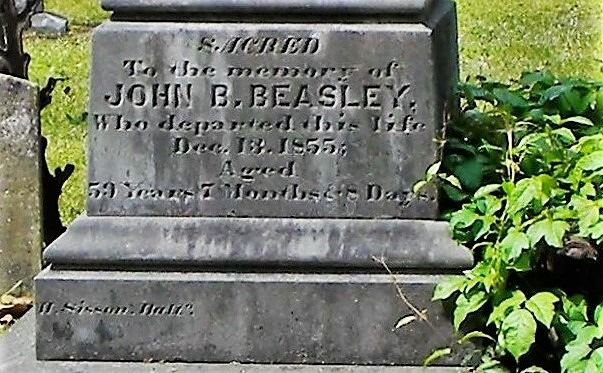 The bottom of the grave marker of John Baptist Beasley - Bob's 2x great grandfather
