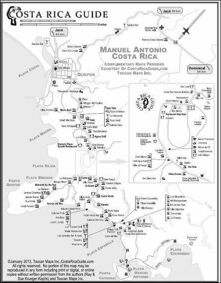 Free Printable map - Manuel Antonio Village