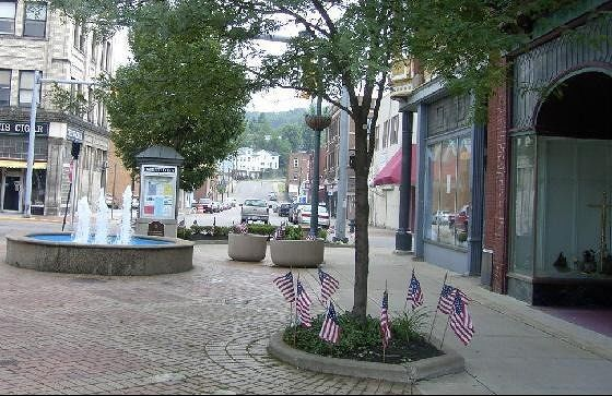 Town square decorated for Memorial Day