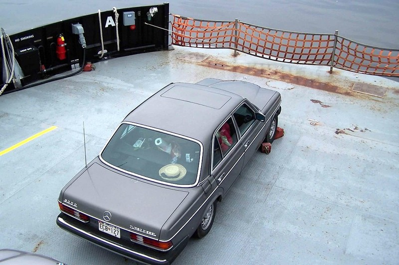 Our car - chocked on the ferry