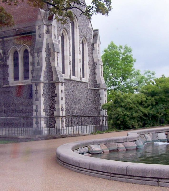 Side of the church beside the fountain