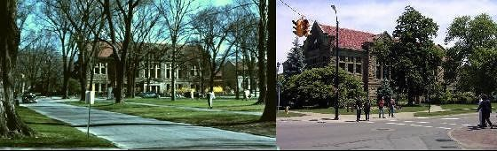 Carnegie Library spring 1959 with forsythia 2004