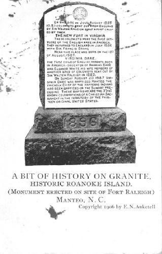 Post card with the text of the Fort Raleigh monument