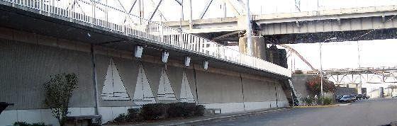 Wall along the waterfront near the new bridge