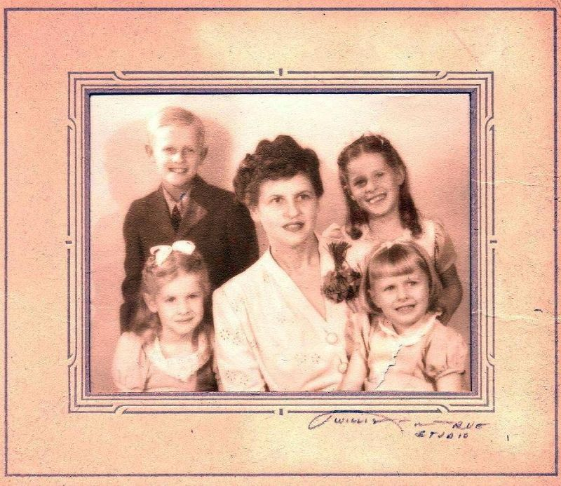 My  Aunt Margaret and my cousins in a Christmas card c 1945