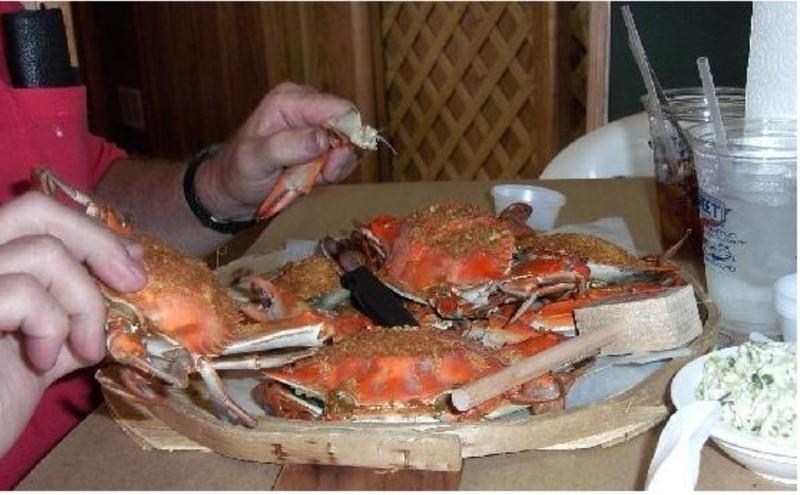 Half dozen steamed crabs