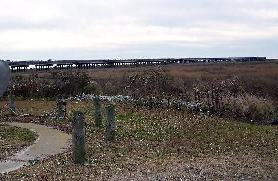 End of the bridge over to Pea Island