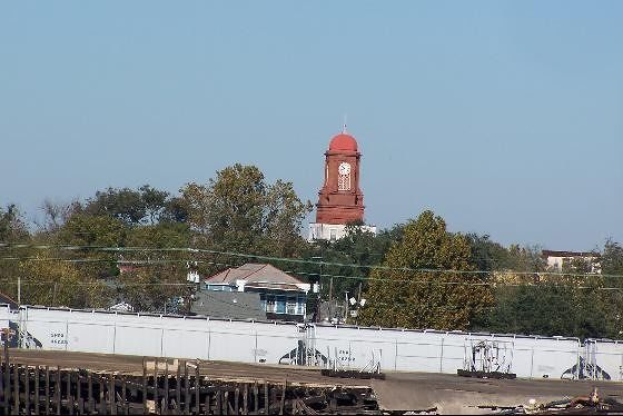 Clocktower on the other side of the levee