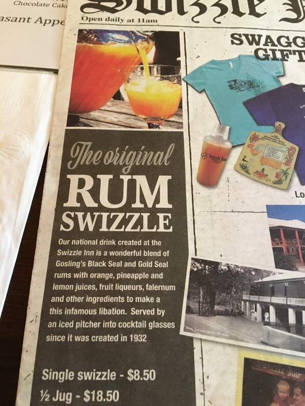 Rum Swizzle on the menu
