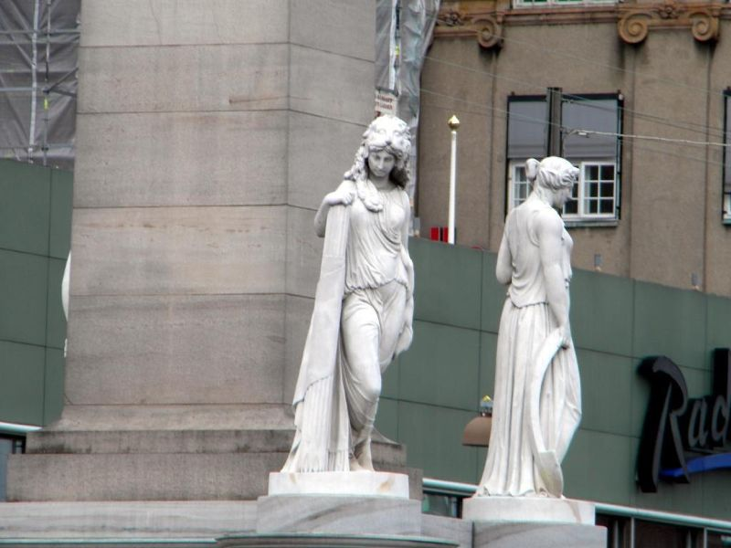 Statues at the base