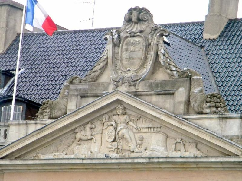 Pediment with coat of arms