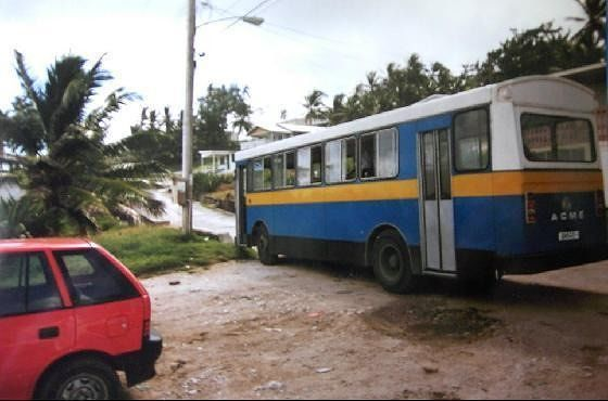 Transport Board bus 1996(and our rental car on left) - Barbados