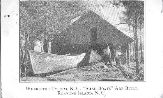 Old postcard - Building a typical local Shad Boat