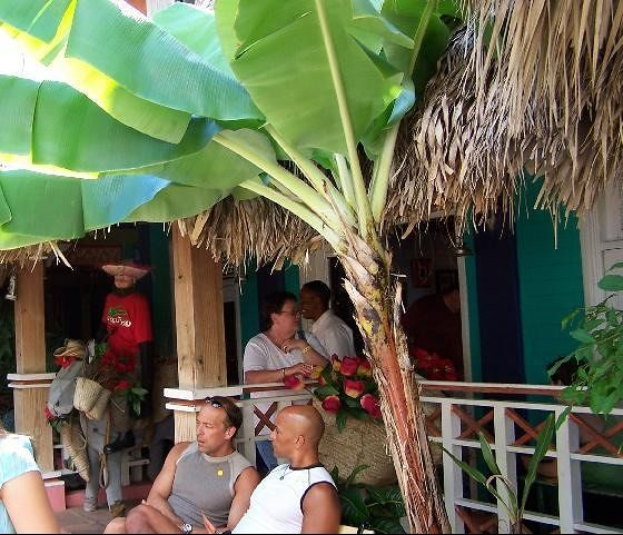 People sitting outside the restaurant